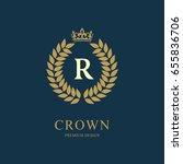 wreath monogram luxury design ... | Shutterstock .eps vector #655836706