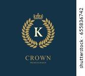 wreath monogram luxury design ... | Shutterstock .eps vector #655836742