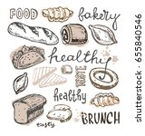 hand drawn doodle  bakery   Shutterstock .eps vector #655840546