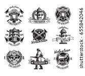 Monochrome Firefighting Labels...