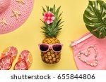 fashion pineapple. bright...   Shutterstock . vector #655844806