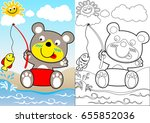 bear fisher  coloring book or... | Shutterstock .eps vector #655852036