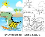 dinosaurs the surfer  coloring... | Shutterstock .eps vector #655852078