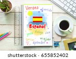 hand writing on a notebook in a ... | Shutterstock . vector #655852402