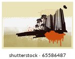 grunge urban city banner with... | Shutterstock .eps vector #65586487