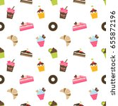 pattern with cupcakes and... | Shutterstock . vector #655872196