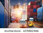 forklift handling container box ... | Shutterstock . vector #655882486