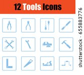set of tools icons. blue frame...