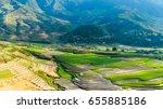 rice fields on terraced of mu... | Shutterstock . vector #655885186