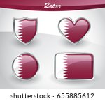 glossy qatar flag icon set with ... | Shutterstock .eps vector #655885612