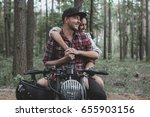 young caucasian couple on a... | Shutterstock . vector #655903156