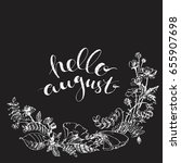 hand drawn wild flowers wreath... | Shutterstock .eps vector #655907698