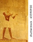 Offering food to gods - relief from Hathepsut mortuary temple - stock photo