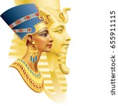 egyptian queen and the pharaoh... | Shutterstock .eps vector #655911115