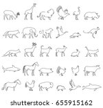one line animals set  logos.... | Shutterstock .eps vector #655915162