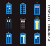 set of british police boxes.... | Shutterstock .eps vector #655915186