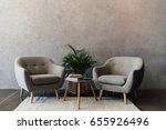 two cozy grey armchairs... | Shutterstock . vector #655926496