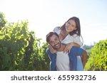 portrait of happy young couple... | Shutterstock . vector #655932736