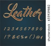 realistic leather font set ... | Shutterstock .eps vector #655939882