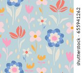 seamless floral pattern | Shutterstock .eps vector #655941262