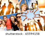 group of happy young people... | Shutterstock . vector #65594158