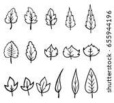 leaves linear  set. decor.... | Shutterstock .eps vector #655944196