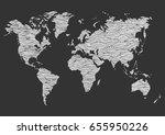 world map hand drawn wave... | Shutterstock .eps vector #655950226
