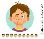 set of human emotions. facial... | Shutterstock .eps vector #655953586