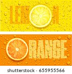 lemon and orange juice... | Shutterstock .eps vector #655955566