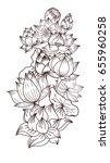 hand drawn lotus flower vector... | Shutterstock .eps vector #655960258