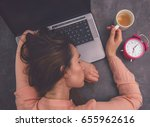 very tired overworked female... | Shutterstock . vector #655962616