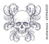 gothic coat of arms with skull. ... | Shutterstock .eps vector #655964035