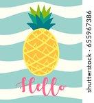tropical pineapple fruit over... | Shutterstock .eps vector #655967386