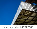 metal sheet roof on blue sky... | Shutterstock . vector #655972006