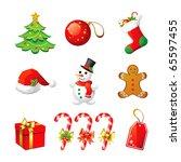 vector christmas icon. set 3.   Shutterstock .eps vector #65597455