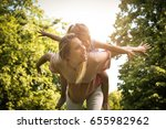 mother and daughter outdoors in ... | Shutterstock . vector #655982962