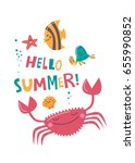 hello summer. funny card with... | Shutterstock .eps vector #655990852