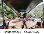 lovely couple have a ride in a... | Shutterstock . vector #656007622