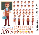 male old teacher character... | Shutterstock .eps vector #656012302