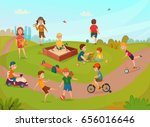 colored kids playing... | Shutterstock .eps vector #656016646