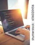 closeup coding on screen  woman ... | Shutterstock . vector #656020456