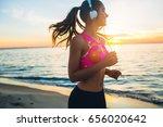 young beautiful woman jogging... | Shutterstock . vector #656020642