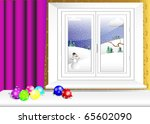 christmas balls on table and... | Shutterstock .eps vector #65602090
