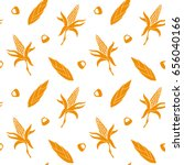 seamless pattern with corn.... | Shutterstock .eps vector #656040166