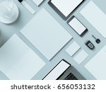 modern office workplace with... | Shutterstock . vector #656053132