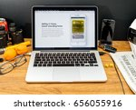 Small photo of PARIS, FRANCE - JUNE 6, 2017: Apple Computers website on MacBook Retina in creative environment showcasing latest news from Apple at WWDC 2017 - AirPlay 2 - home sweet sounding home