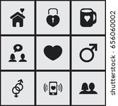 set of 9 editable passion icons.... | Shutterstock .eps vector #656060002