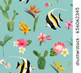 tropical seamless vector floral ... | Shutterstock .eps vector #656062345