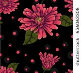 seamless floral pattern on... | Shutterstock .eps vector #656063308
