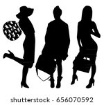 woman silhouettes with bags  | Shutterstock .eps vector #656070592